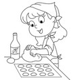 young chef girl coloring vector image