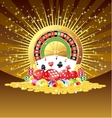 Roulette cards dices chips gemstones and vector image