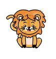 cute lion wild animal with face expression vector image