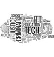 Itt tech criminal justice overview text vector image