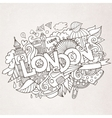 London hand lettering and doodles elements vector image