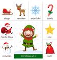 Printable flashcard Christmas set and Elf vector image