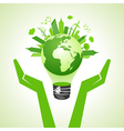 save eco earth with bulb vector image