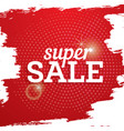 super sale poster on red background with halftone vector image