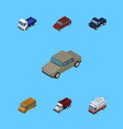 isometric car set of freight auto lorry and vector image