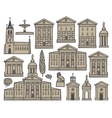 set houses and churches vector image vector image