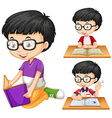 Boy with glasses reading book vector image
