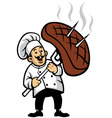 chef with a piece of steak vector image