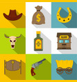 cowboy equipment icons set flat style vector image