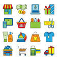 set of flat shopping icons commercial purchase vector image