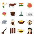 india travel icons set in flat style vector image