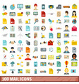 100 mail icons set flat style vector image