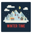 Ski resort in mountains winter time night vector image