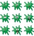 Emotion smiles cartoon green blot color set 008 vector image