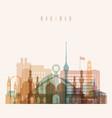 baghdad skyline detailed silhouette vector image