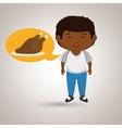 boy cartoon chicken food vector image