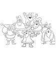 cartoon santa group coloring page vector image