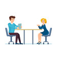 colleagues discuss working issues in office vector image