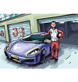 Racer and His Sport Car vector image