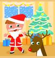 santa claus kid with reindeer vector image