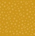 seamless pattern with cartoon stars and moon on vector image