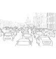 Traffic jam of cars vector image