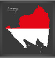 Lampung indonesia map with indonesian national vector image