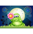 A fat green monster holding a flower at the vector image vector image
