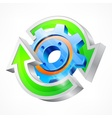 Gear with round arrows vector image