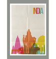 Travel India landmarks skyline vintage poster vector image