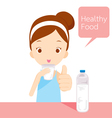 Cute girl drinking water vector image