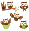 Funny owls set vector image vector image