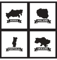 Concept flat icons black and white maps of vector image