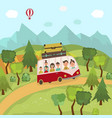 family travelling by bus in countryside fields vector image