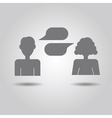 Man and woman icons with empty speech bubbles vector image