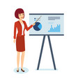 woman shows on stand schedule and statistics vector image