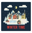 Town in mountains winter time night vector image