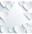 Modern grey background with 3d paper hearts vector image vector image