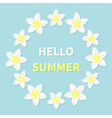 Hello summer Greeting card Plumeria Tropical vector image