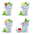 cold fruity drinks with ice isolated vector image
