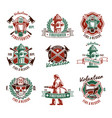 colorful fire protection labels set vector image