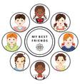 flat multinational kids friends portrait vector image
