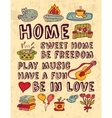 Home family relations icons color feelings poster vector image