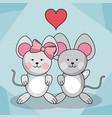 loving couple mice animal baby heart decoration vector image