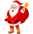 Santa Claus cartoon with bell carrying sack vector image