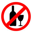 no alcohol sign drinking alcohol is forbidden icon vector image