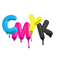 Dripping wet paint 3d cmyk letters vector