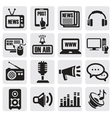 media icons set vector image