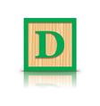 letter D wooden alphabet block vector image