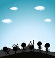 Silhouette monkeys playing on hill vector image vector image